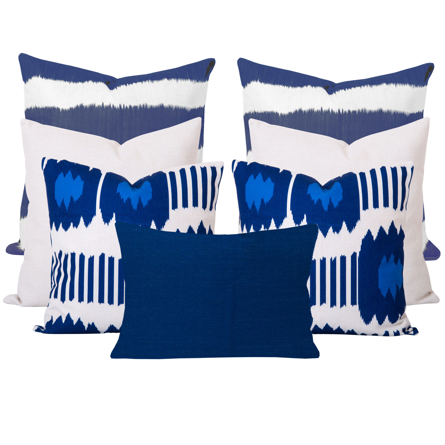 Bayou-Blue-Ikat-7-Cushion-Set