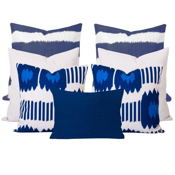 bayou Blue Ikat 7 Cushion Set