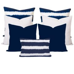 Bayou Blue Ikat Stripe 7 Cushion Set
