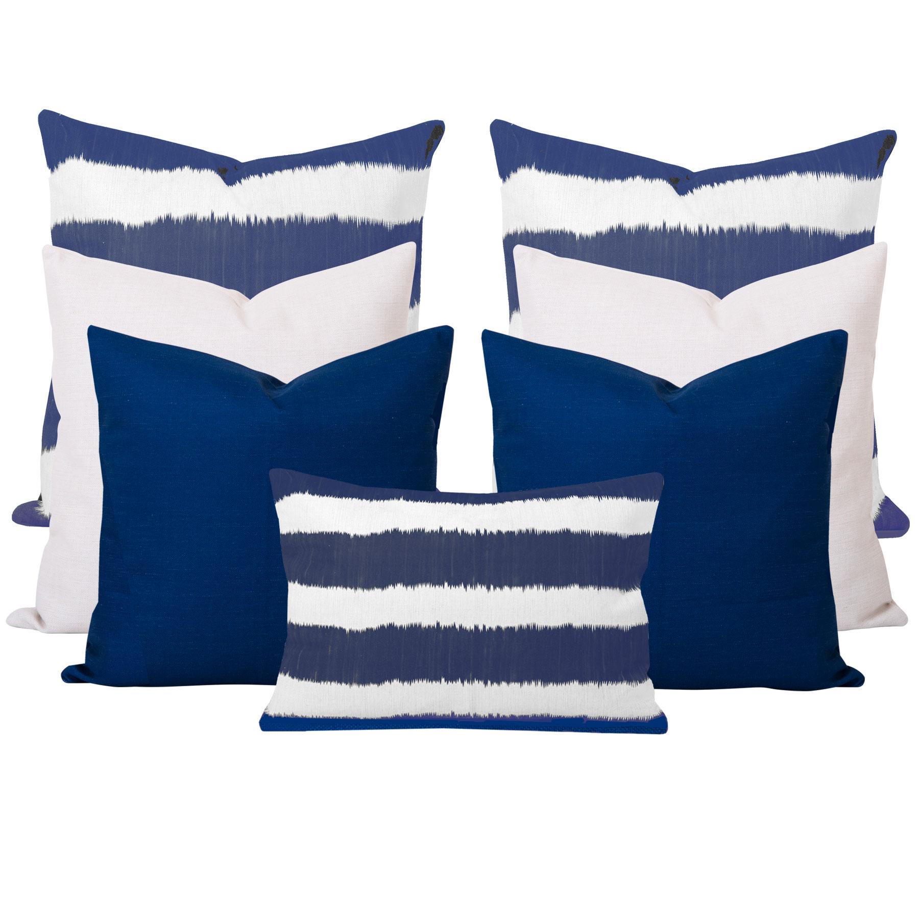 Bayou-Blue-Ikat-Stripe-7-Cushion-Set