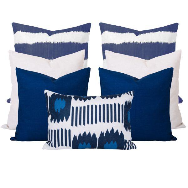 Bayou Blue Ikat Stripe 7 Cushion Set