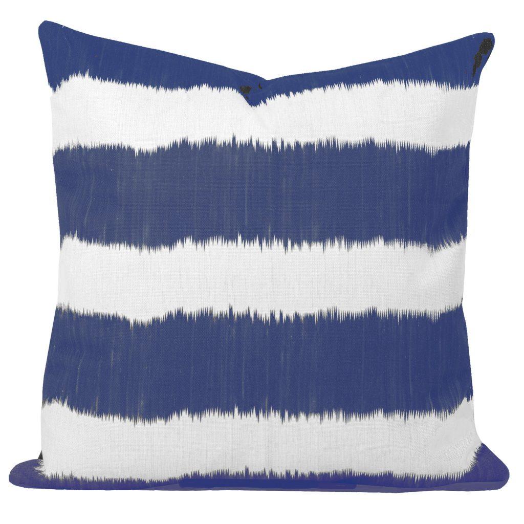 Bayou Blue and White Ikat Stripe Cushion