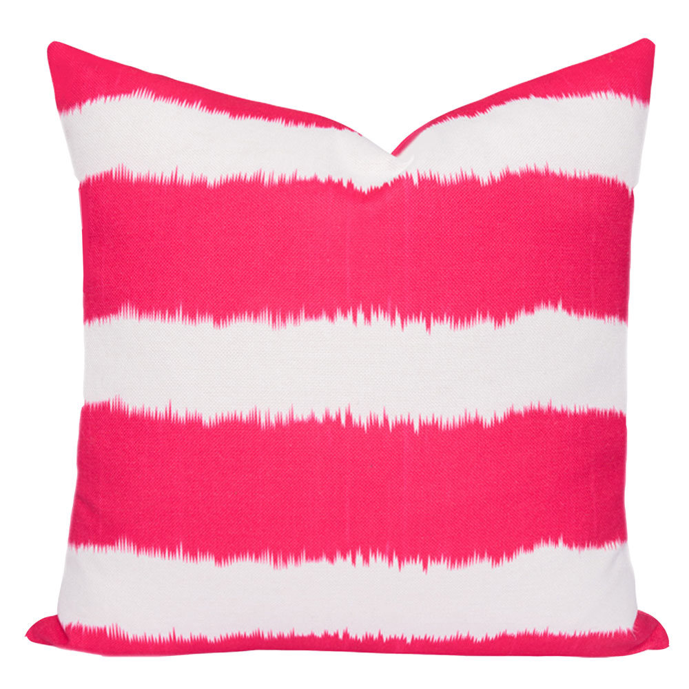 Bayou Pink Ikat Stripe Cushion