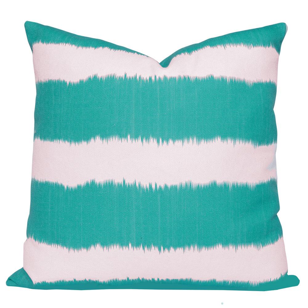 Bayou Turquoise Ikat Stripe Cushion