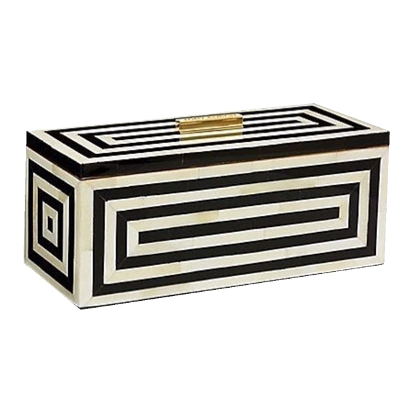 Black and White Stripe bone Inlay Box