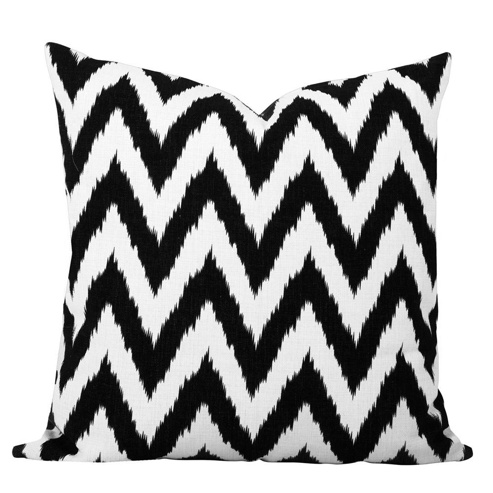 Gaia Black and White Ikat Chevron cushion