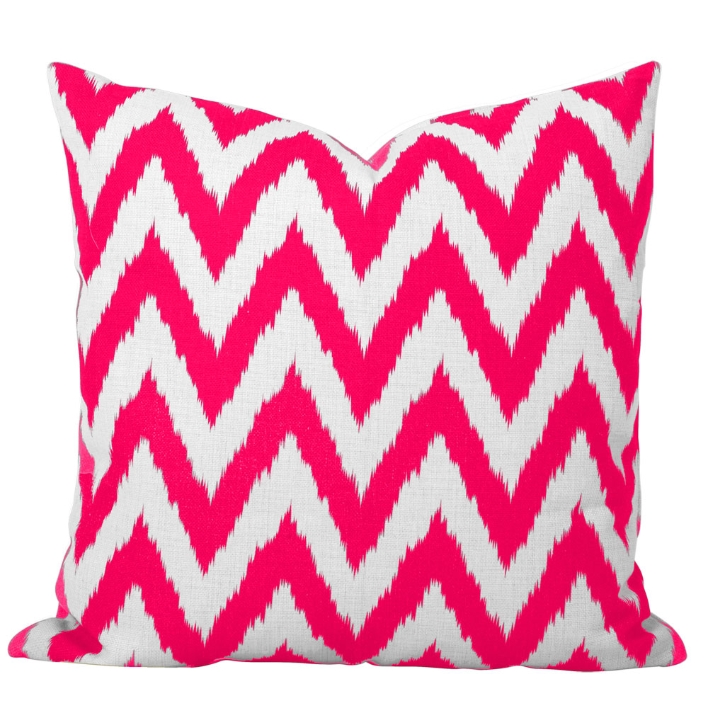 Gaia Pink Ikat Chevron Cushion