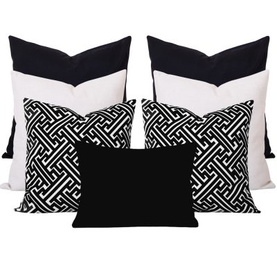 Georgia Maze Black 7 Cushion Set