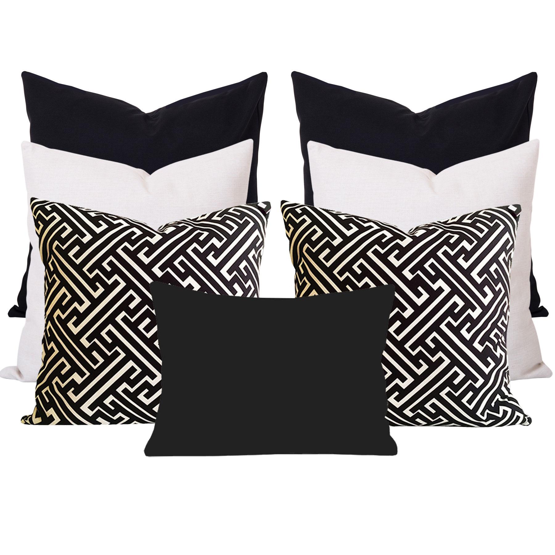 Georgia-Maze-Black-7-Cushion-Set