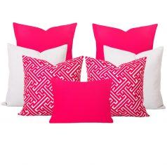 Georgia Maze Pink 7 Cushion Set2