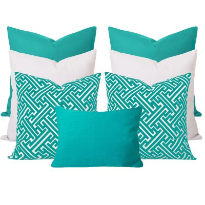 Maze Turquoise Geometric 7 Cushion Set