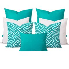 Georgia Maze Turquoise 7 Cushion Set
