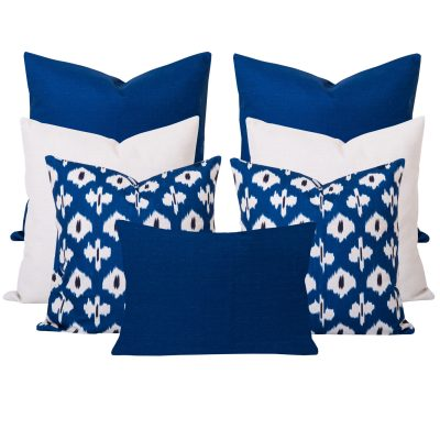 Kristine Blue Ikat 7 Cushion Set