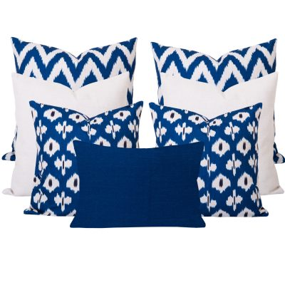 Blue and White Set of 7 cushions