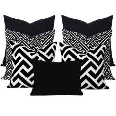 Maze Black Geometric 7 cushion Set