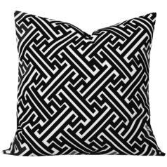 Maze Black Geometric Cushion