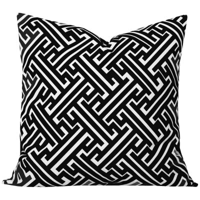 Maze Black Geometric Cushion