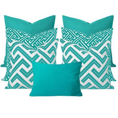Maze Turquoise 7 Cushion Set