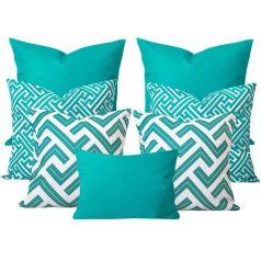 Maze Turquoise Geometric 7 Cushion Set