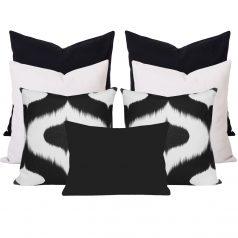 Neveen Bllack Ikat 7 Cushion Set