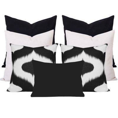 Neveen Bllack Ikat 7 Cushion Set