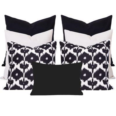 Kristine Black Ikat 7 Cushion Set