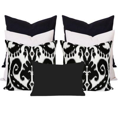 Orient Black Ikat 7 Cushion Set