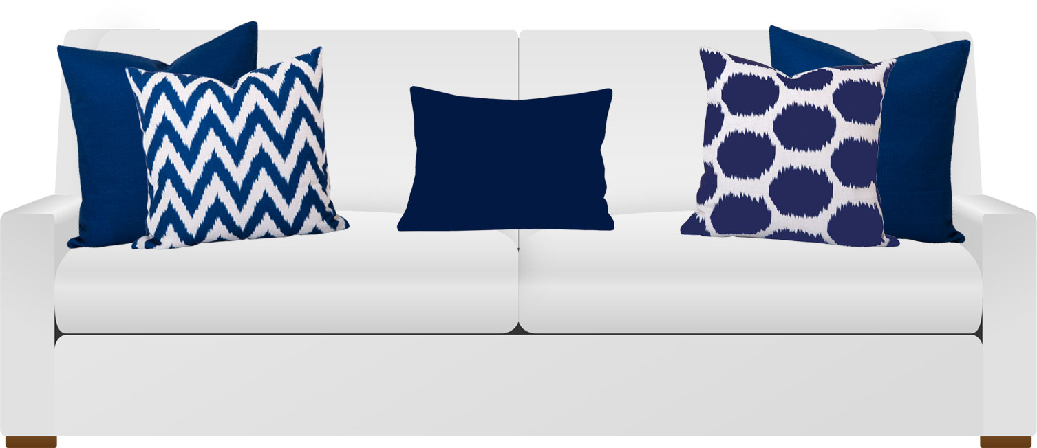 White 2 seat sofa with blue cushions