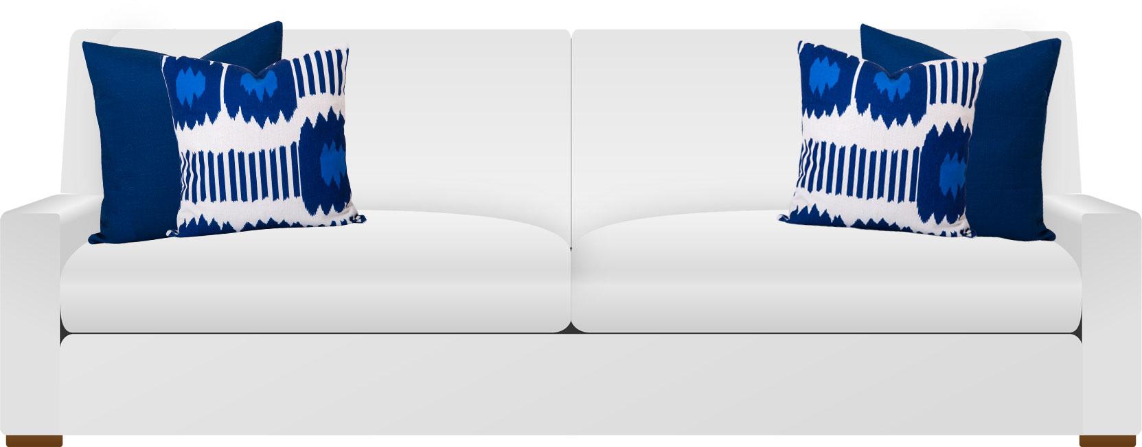White Sofa with Blue Ikat cushions