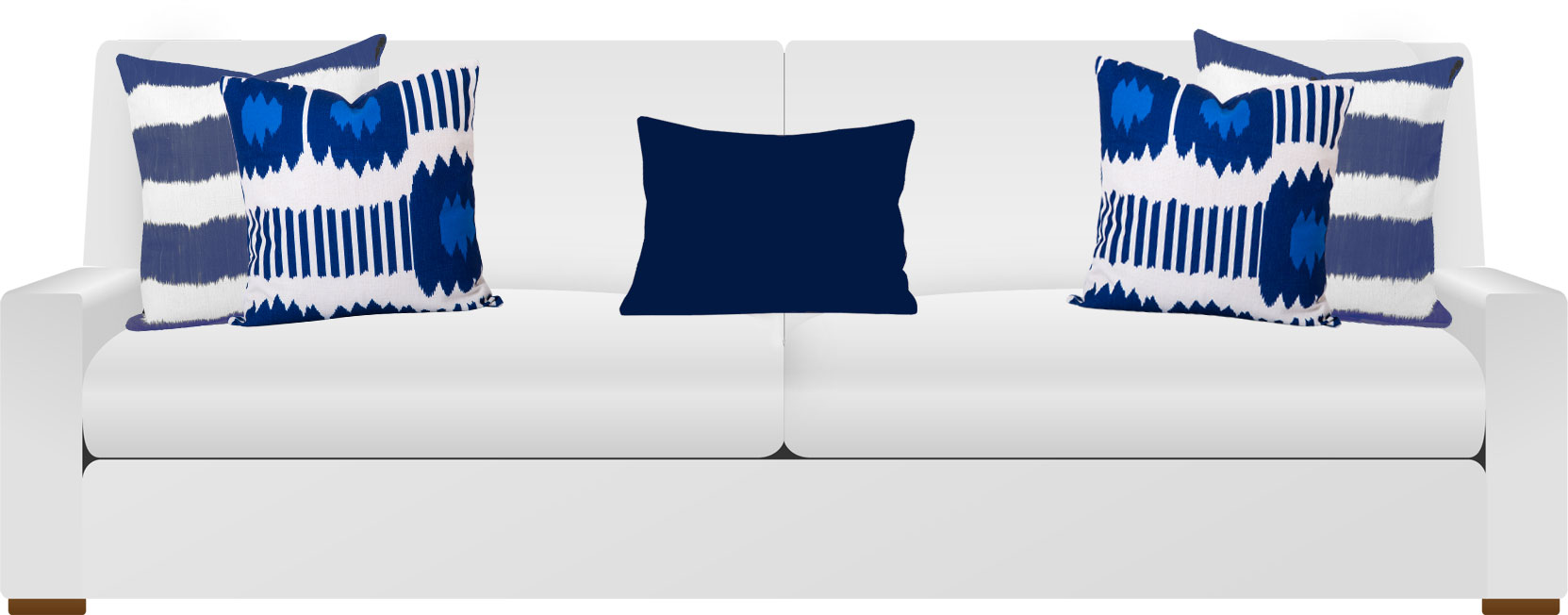 White Sofa with 5 blue ikat cushions