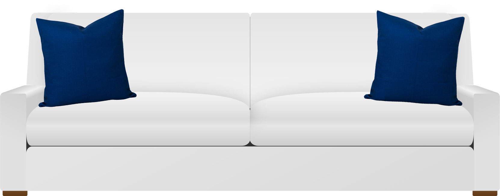 White sofa with navy blue cushions