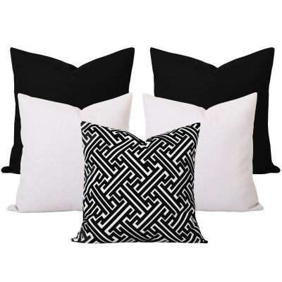 Georgia Maze Black 5 Cushion Set
