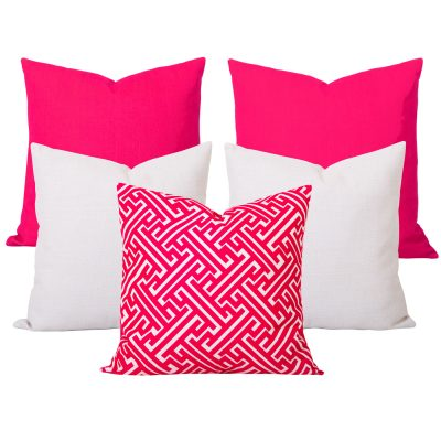 Georgia Maze Pink 5 Cushion Set