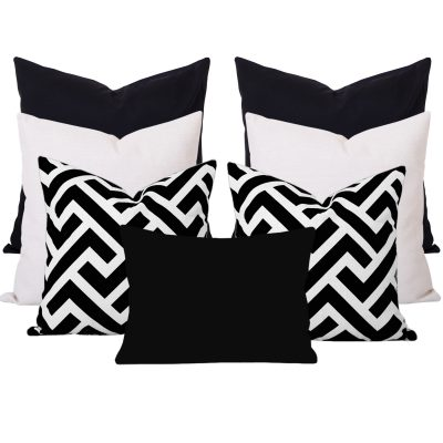 Zedd Black Ikat 7 Cushion Set