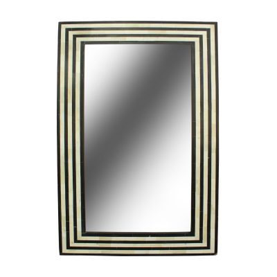 Dari Bone Inlay Black and White Stripe Mirror