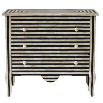 Sare Bone Inlay Stripe 3-Drawer Chest of Drawers