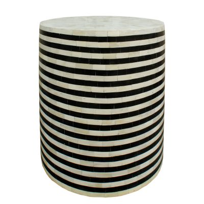 Raj Bone INlay Stripe Drum Side Table
