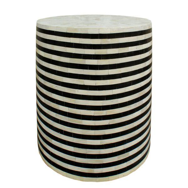 Raj Bone INlay Stripe Drum Side Table