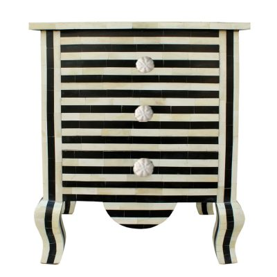 Sari Bone INlay Black and White Stripe Bedside Table