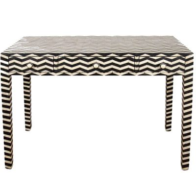 Chevron Bone Inlay 3-drawer console table black