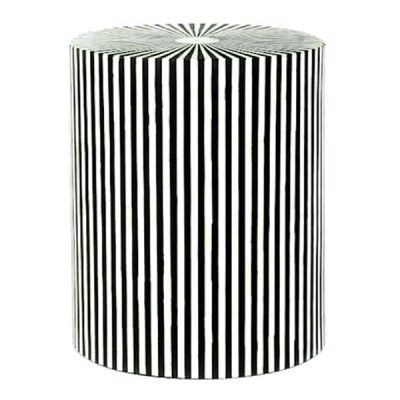 Zani Bone Inlay Stripe Drum Side Table Black