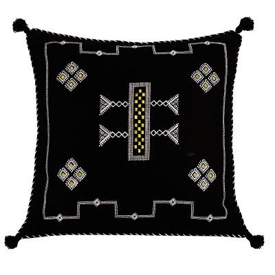 Moroccan Black Embroidered Linen Cushion