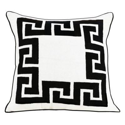 Amalfi Greek Key White Linen Embroidered CushionC