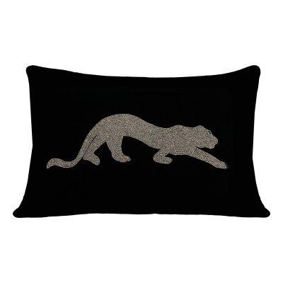 Goya Silver Panther Beaded Velvet Cushion