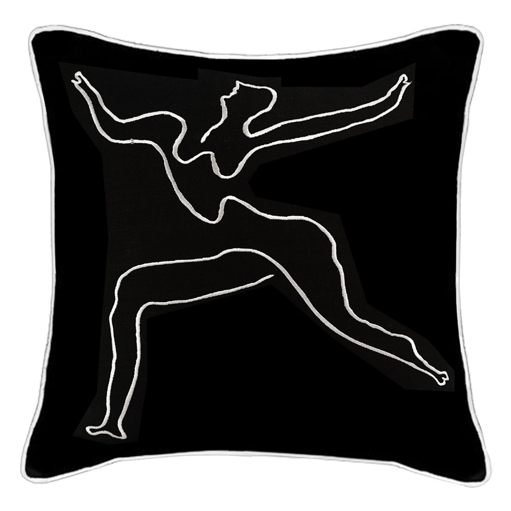 Picasso Black Linen Embroidered Cushions