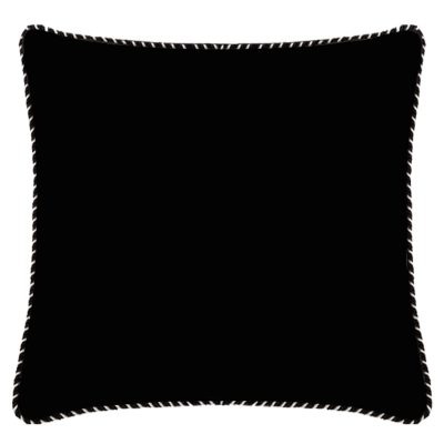 Audrey Black Linen Cushion with Whipstitch Edge