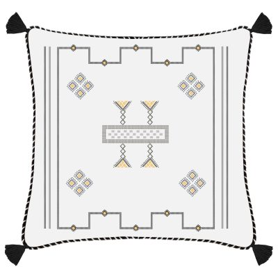 Morocco White Embroidered Linen Cushion