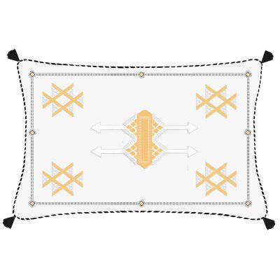 Morocco Fex White Embroidered Linen Cushion