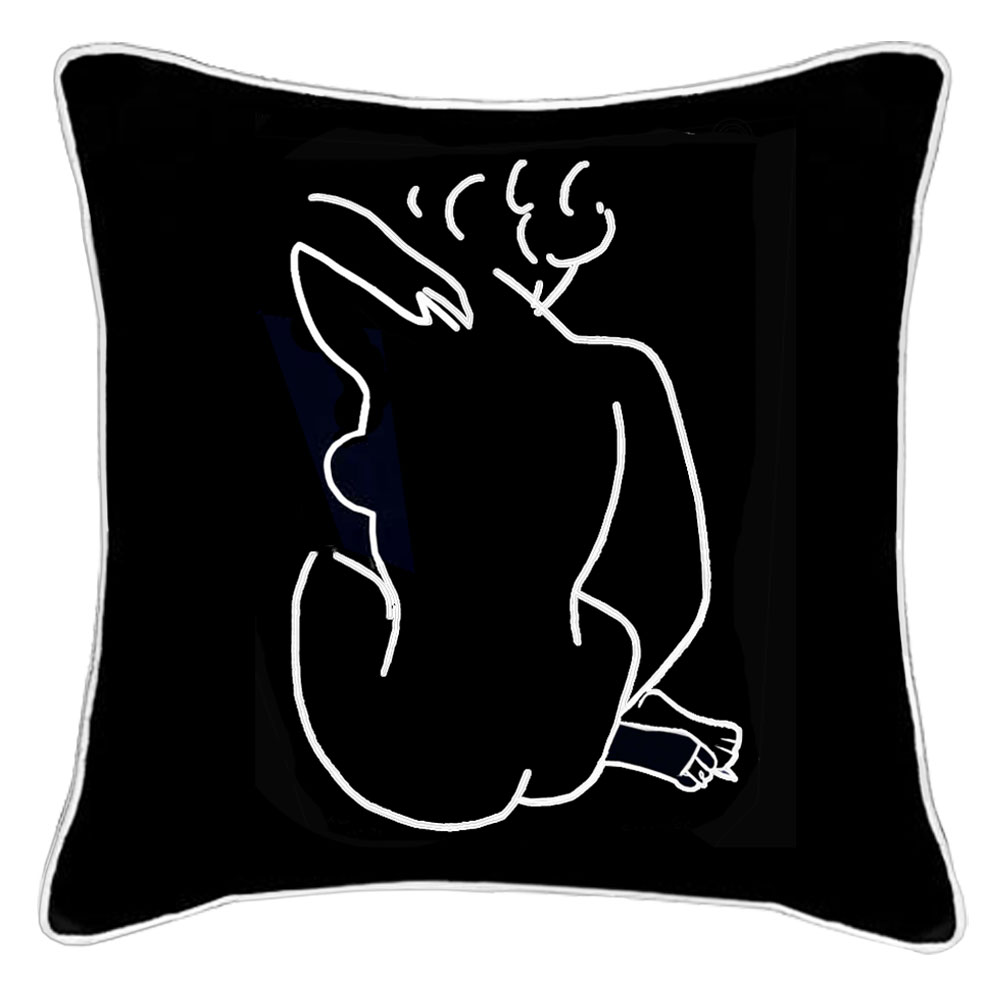 Matisse Back of a Woman Black Embroidered Linen Cushion