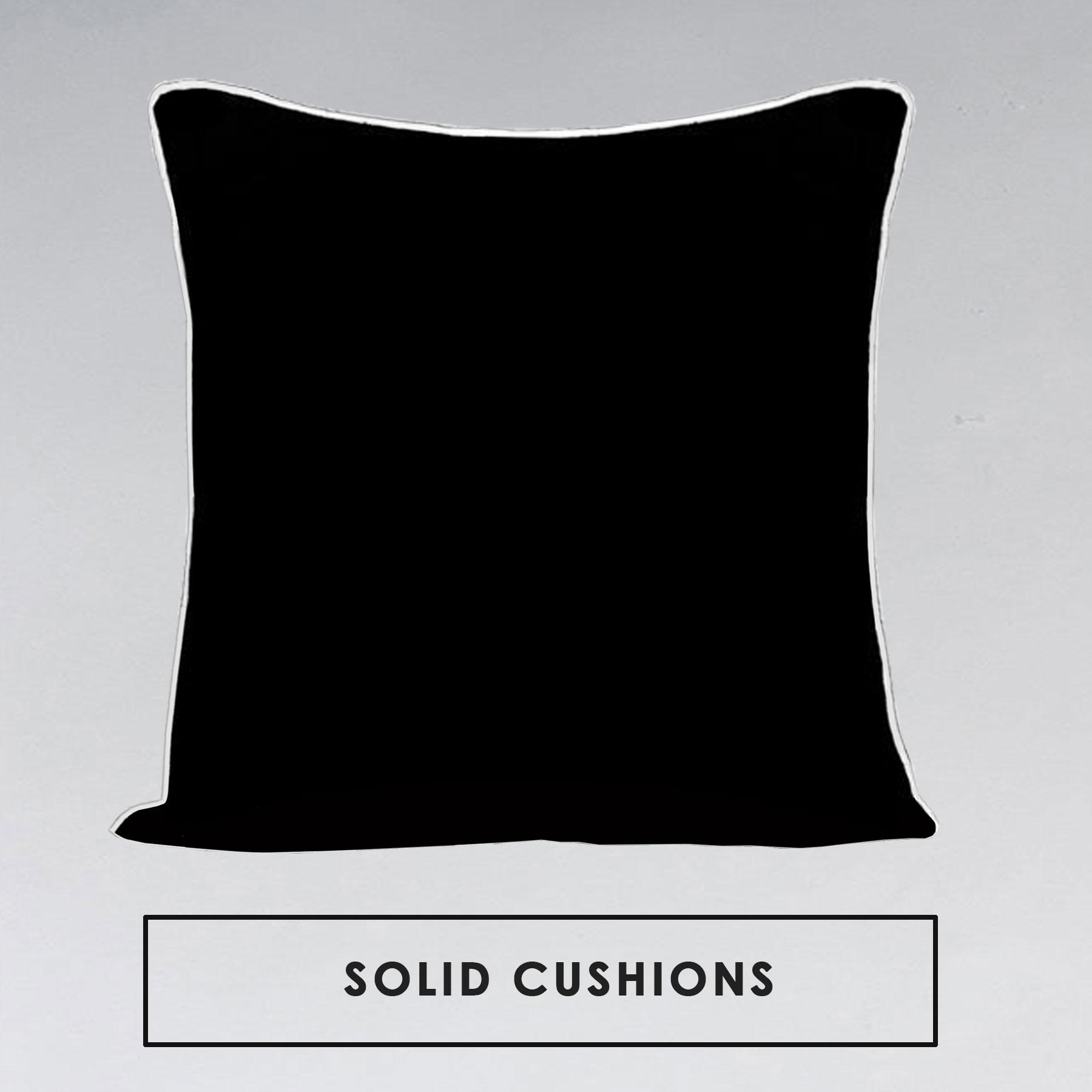 Wanda Piped Plain Black Linen Cushion